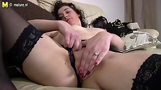 UK mother with dildo on couch