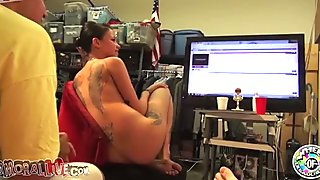Dark haired tattooed filth Raven Bay enjoys flying 69 sex with her freak