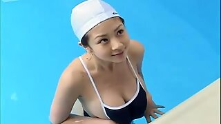 Erotic swimsuit on a young Asian cutie.