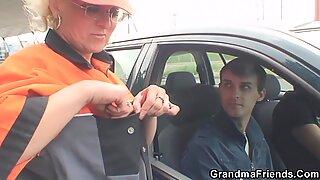 Hot grandma double fuck