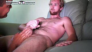 Servicing Tall Blonde big cock construction worker