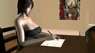 Geeky 3D hentai babe slurps hot cum
