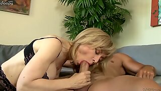 Thirsty granny devour his cock