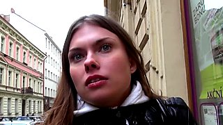 Curious Czech brunette is convinced to fuck for a wad of cash
