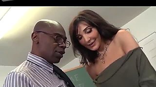 Slutty brunette British nympho gets analfucked by black dude in the college