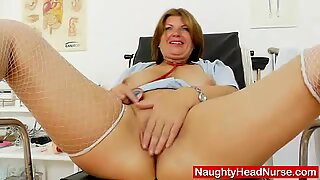 Milf brunette having fun in nurse practitioner uni