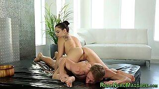 Nuru massage babe cummed