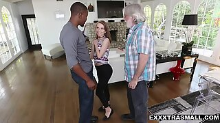Tiny babe Alina West is being extra friendly with a fat black cock