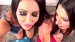 Jessica Jaymes and Dava Foxx giving POV blowjob