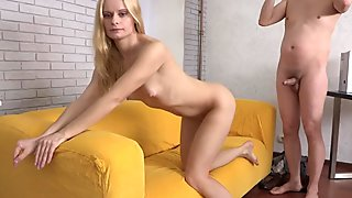 Petite eurobabe pounded on tape